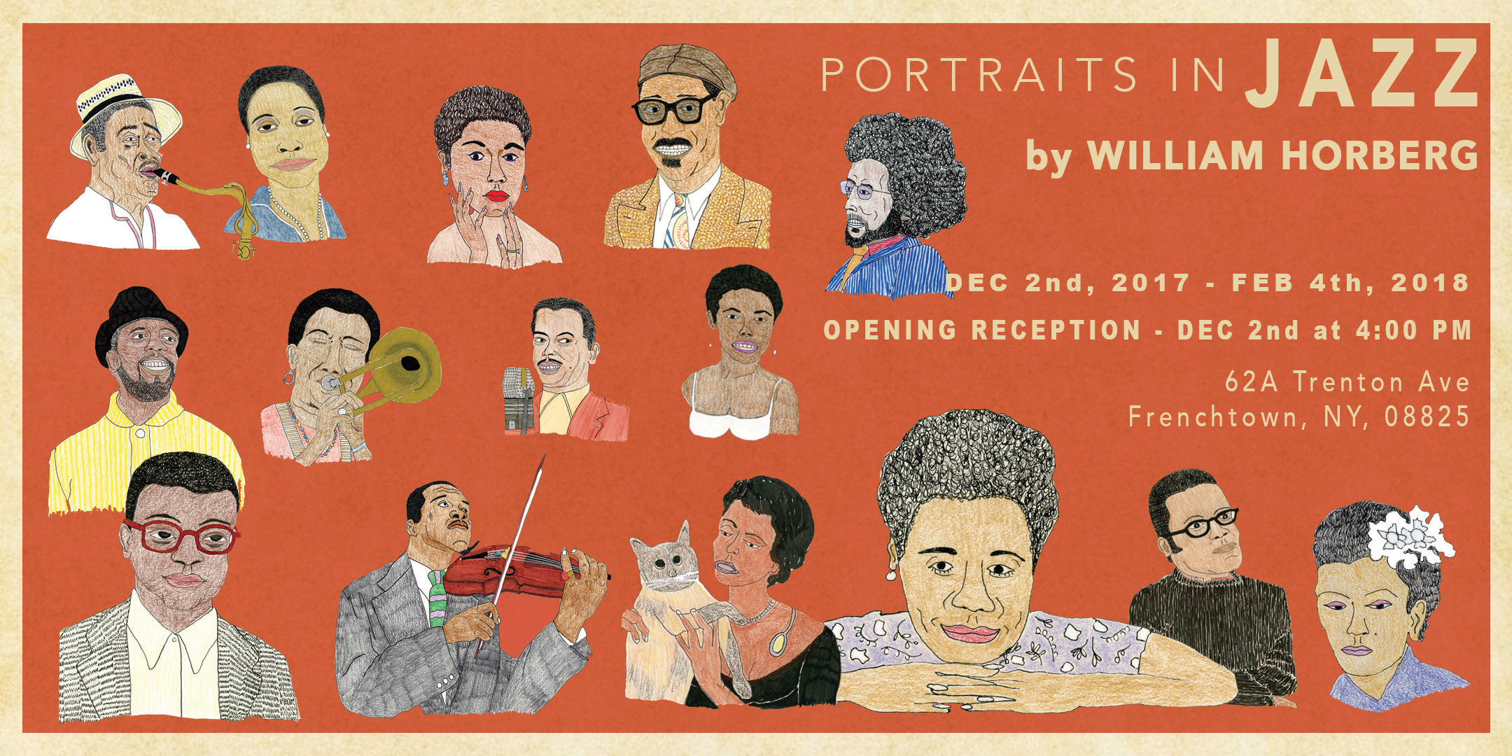Opening of Portraits in Jazz. A Solo Exhibition with William Horberg's Drawings. @ ArtYard | Frenchtown | New Jersey | United States