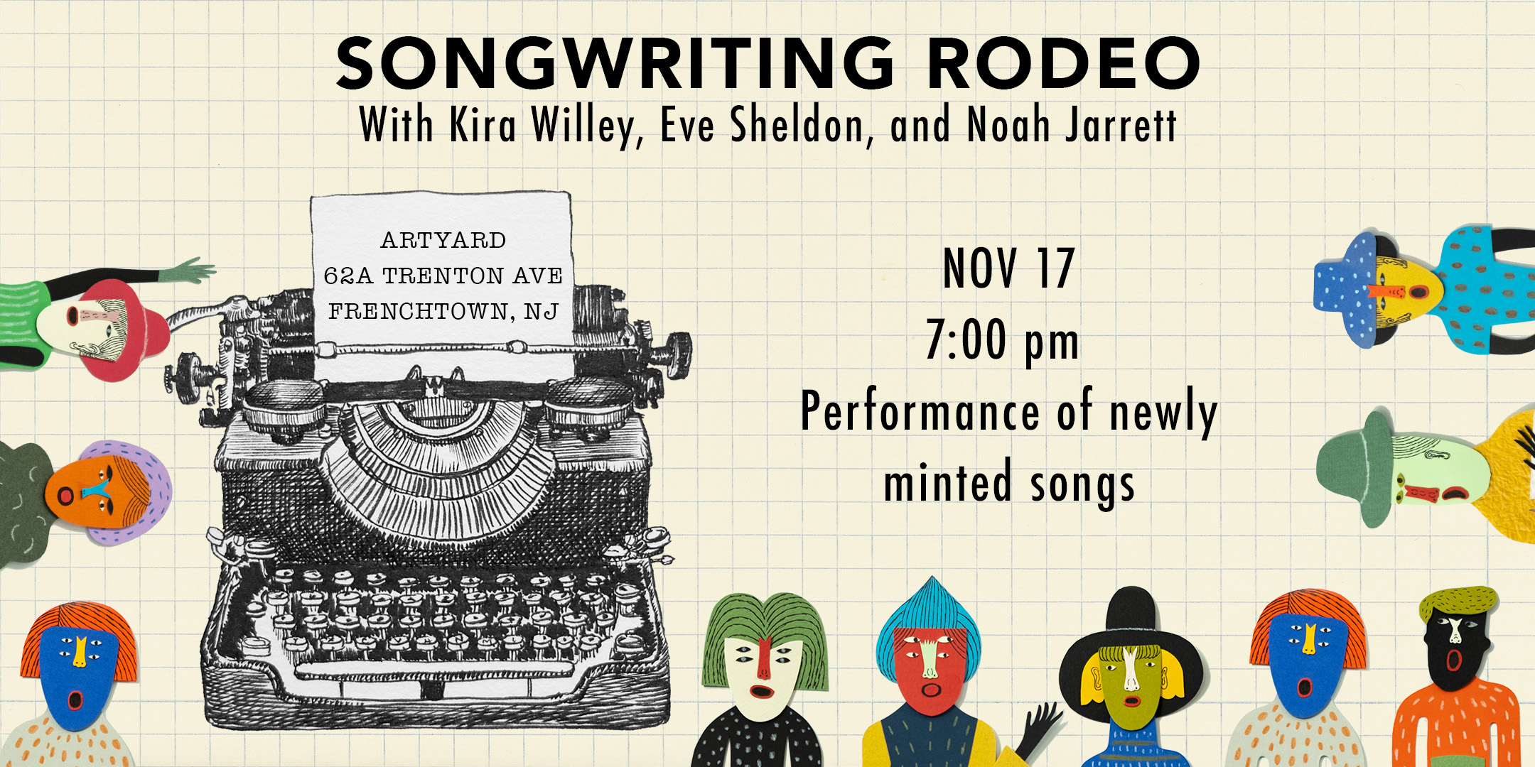Songwritting Rodeo (PERFORMANCE OF NEWLY MINTED SONGS) @ ArtYard's Theater | Frenchtown | New Jersey | United States