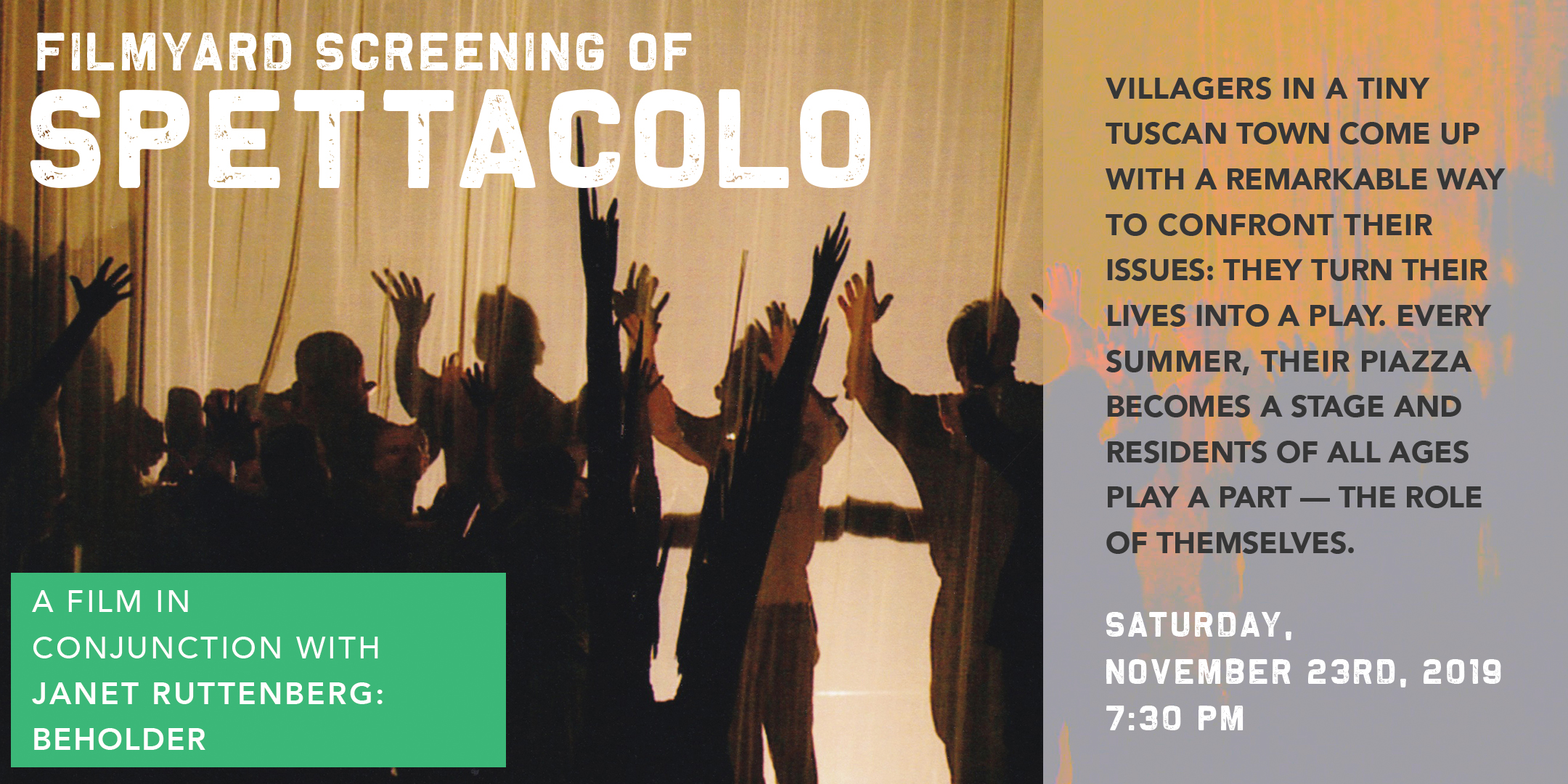 Screening of the film SPETTACOLO. @ ArtYard's Theater | Frenchtown | New Jersey | United States