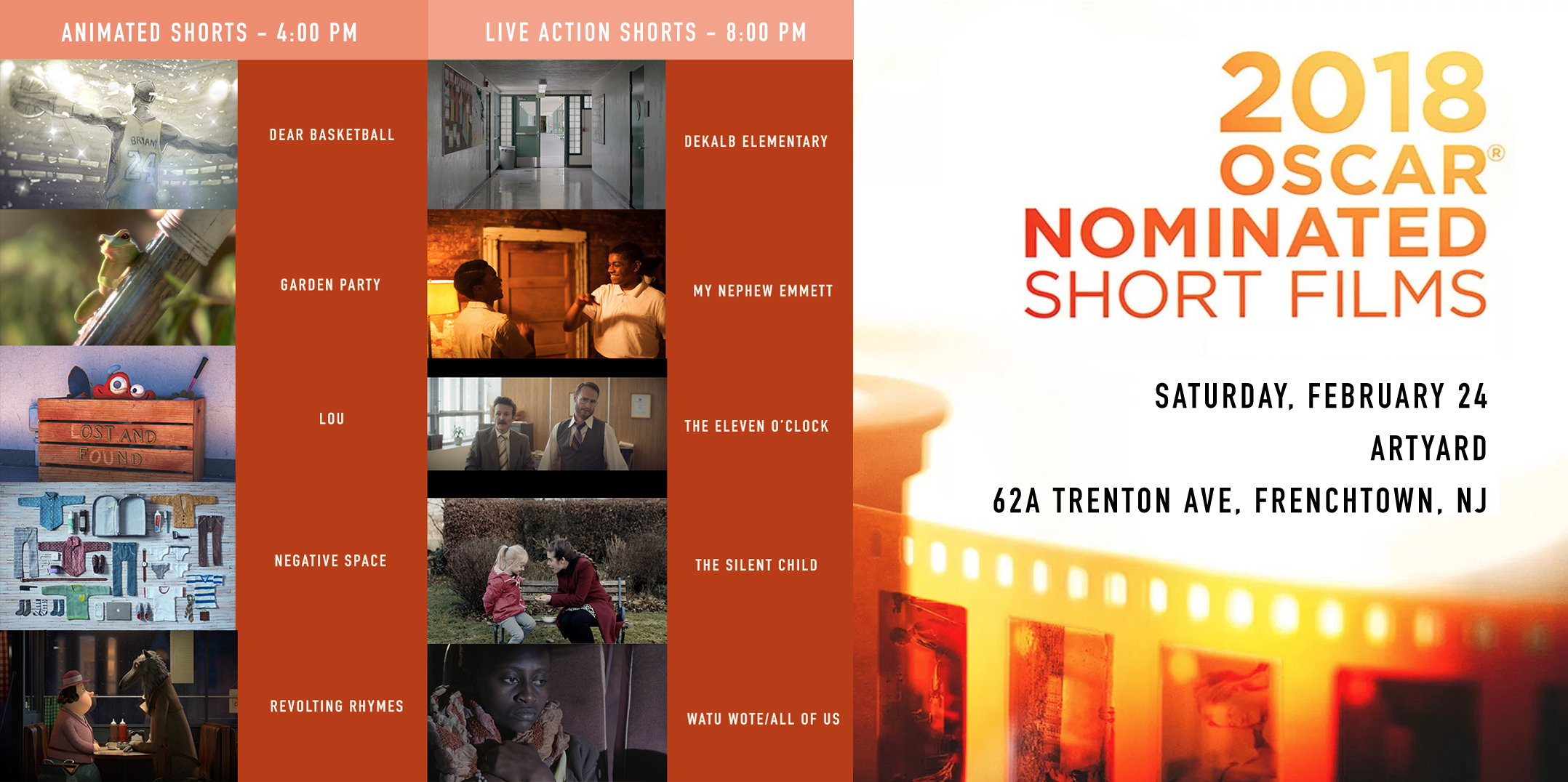 2018 Oscar Nominated Short Films. 4:00 PM SCREENING. @ ArtYard's Theater | Frenchtown | New Jersey | United States
