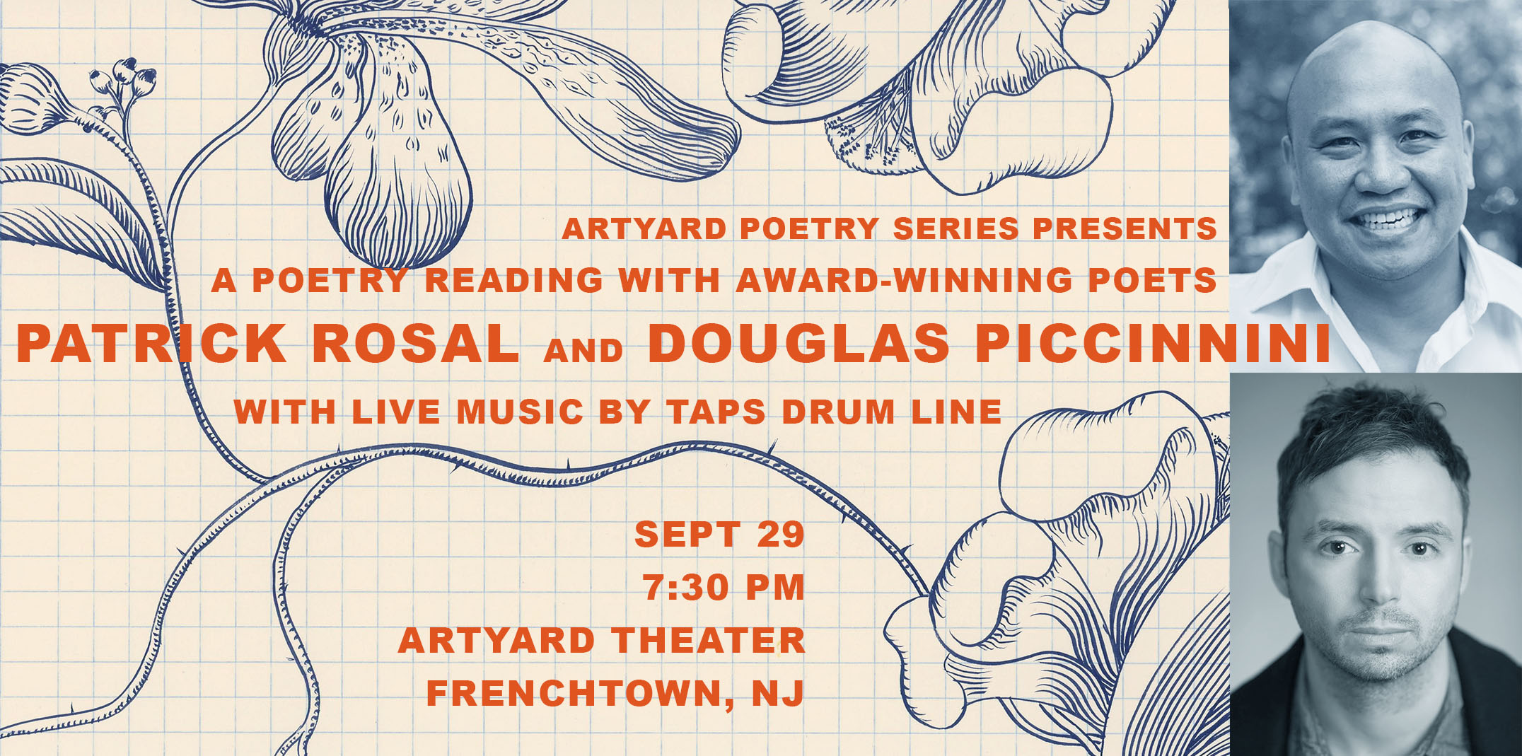 Poetry Reading with Patrick Rosal & Local Poet Douglas Piccinnini @ ArtYard's Theater | Frenchtown | New Jersey | United States