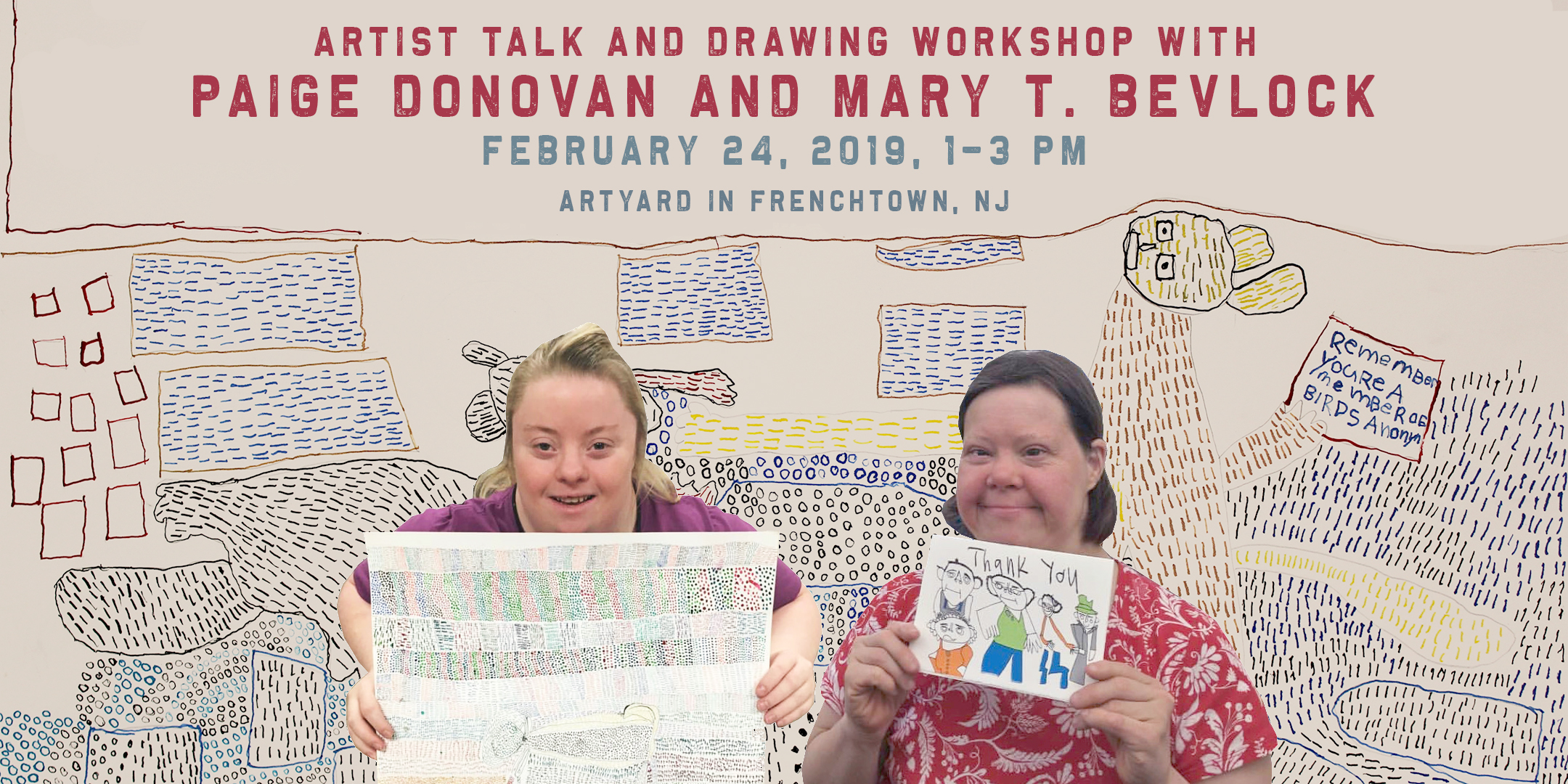 Artist Talk and Drawing Workshop with Paige Donovan and Mary T. Bevlock @ ArtYard's Theater | Frenchtown | New Jersey | United States
