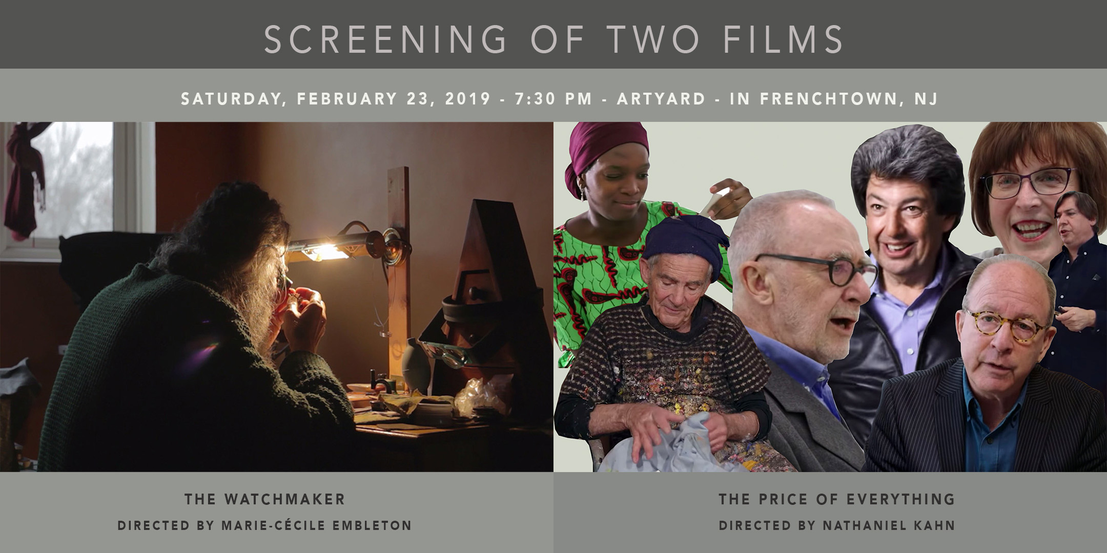Screening of The Price of Everything and The Watchmaker @ ArtYard's Theater | Frenchtown | New Jersey | United States