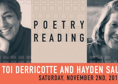 Poetry Reading with Toi Derricotte and Hayden Saunier. (Nov 2, 2019)